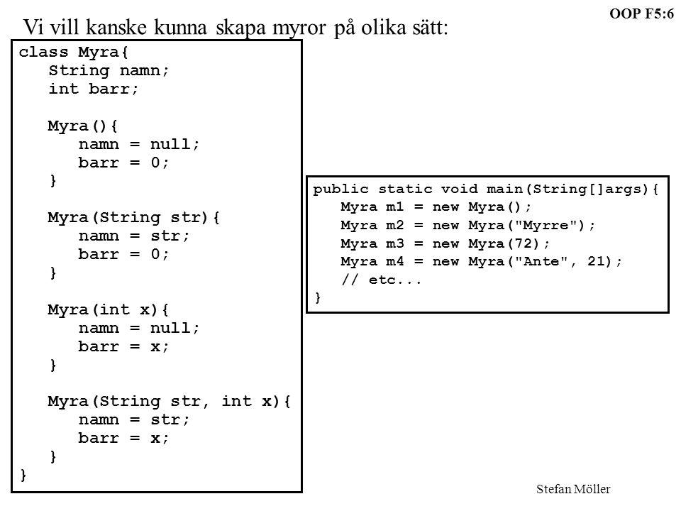 OOP F5:6 Stefan Möller Vi vill kanske kunna skapa myror på olika sätt: class Myra{ String namn; int barr; Myra(){ namn = null; barr = 0; } Myra(String str){ namn = str; barr = 0; } Myra(int x){ namn = null; barr = x; } Myra(String str, int x){ namn = str; barr = x; } public static void main(String[]args){ Myra m1 = new Myra(); Myra m2 = new Myra( Myrre ); Myra m3 = new Myra(72); Myra m4 = new Myra( Ante , 21); // etc...