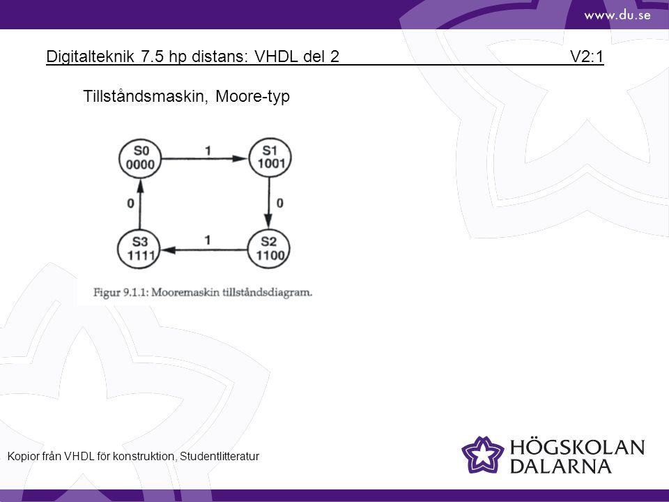 Digitalteknik 7.5 hp distans: VHDL del 2 V2:1 Tillståndsmaskin, Moore-typ Kopior från VHDL för konstruktion, Studentlitteratur