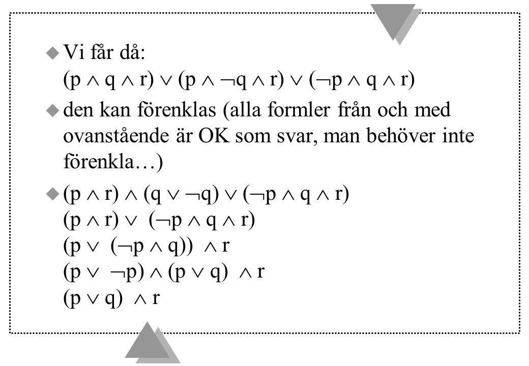 u Vi får då: (p  q  r)  (p   q  r)  (  p  q  r) u den kan förenklas (alla formler från och med ovanstående är OK som svar, man behöver inte förenkla…) u (p  r)  (q   q)  (  p  q  r) (p  r)  (  p  q  r) (p  (  p  q))  r (p   p)  (p  q)  r (p  q)  r