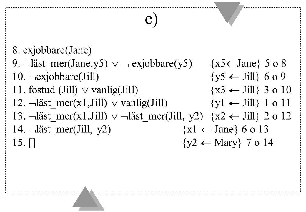 c) 8. exjobbare(Jane) 9.  läst_mer(Jane,y5)   exjobbare(y5){x5  Jane} 5 o 8 10.  exjobbare(Jill){y5  Jill} 6 o 9 11. fostud (Jill)  vanlig(Jill