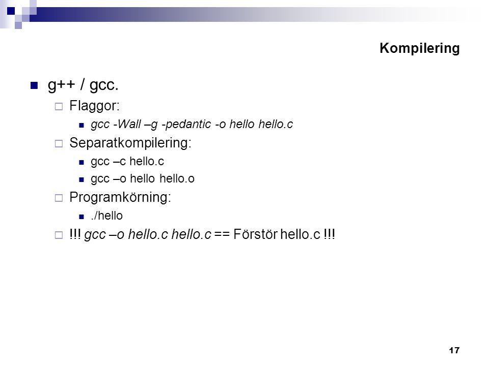 17 Kompilering g++ / gcc.