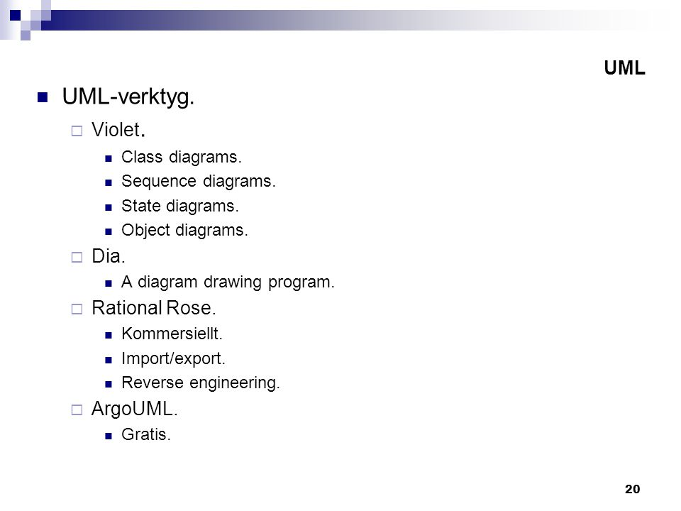 20 UML UML-verktyg.  Violet. Class diagrams. Sequence diagrams.