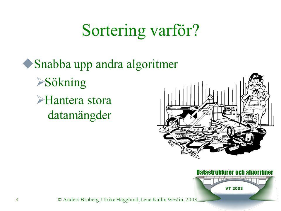 Datastrukturer och algoritmer VT 2003 © Anders Broberg, Ulrika Hägglund, Lena Kallin Westin, 200314 Ihopslagning av två sekvenser Agorithm merge(S1,S2,S) while S1 is not empty and S2 is not empty do if S1.first().element() ≤ S2.first().element() then S.insertLast(S1.remove(S1.first())) else S.insertLast(S2.remove(S2.first while S1 is not empty do S.insertLast(S1.remove(S1.first())) while S2 is not empty do S.insertLast(S2.remove(S2.first()))