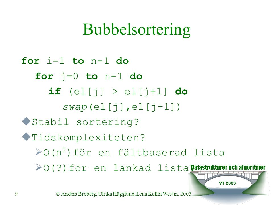 Datastrukturer och algoritmer VT 2003 © Anders Broberg, Ulrika Hägglund, Lena Kallin Westin, 20039 Bubbelsortering for i=1 to n-1 do for j=0 to n-1 do if (el[j] > el[j+1] do swap(el[j],el[j+1])  Stabil sortering.