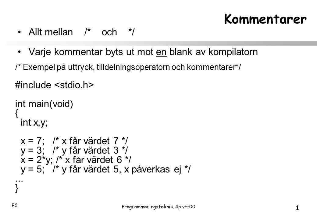 F2 1 Programmeringsteknik, 4p vt-00 Kommentarer Allt mellan /* och */ Varje kommentar byts ut mot en blank av kompilatorn /* Exempel på uttryck, tilld