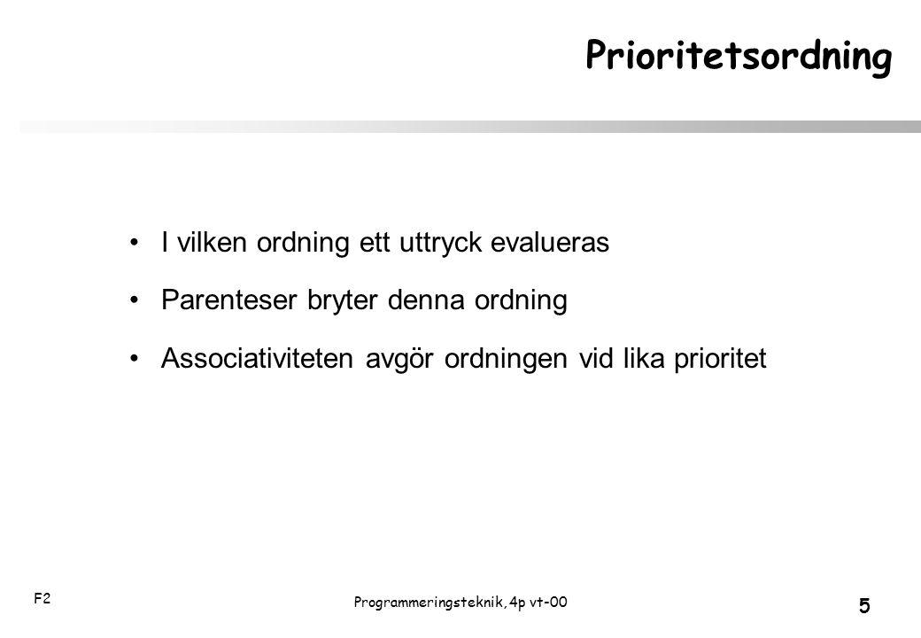 F2 5 Programmeringsteknik, 4p vt-00 Prioritetsordning I vilken ordning ett uttryck evalueras Parenteser bryter denna ordning Associativiteten avgör or