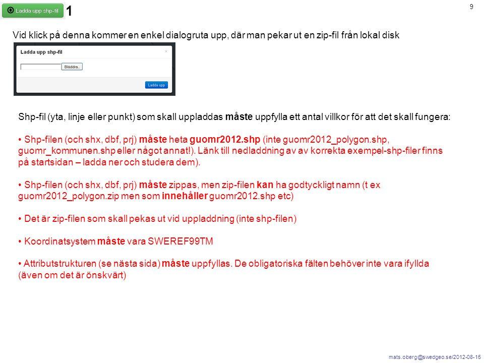 mats.oberg@swedgeo.se/2012-08-15 9 Vid klick på denna kommer en enkel dialogruta upp, där man pekar ut en zip-fil från lokal disk Shp-fil (yta, linje