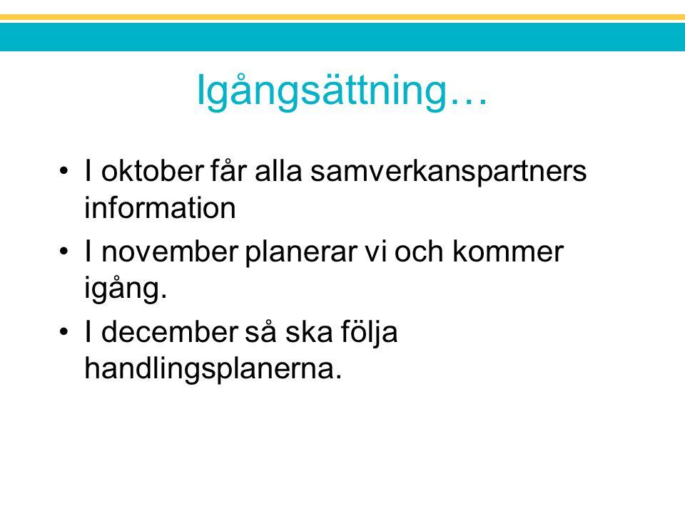 Igångsättning… I oktober får alla samverkanspartners information I november planerar vi och kommer igång. I december så ska följa handlingsplanerna.