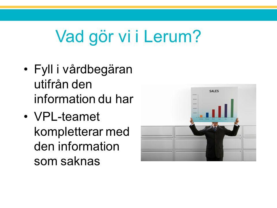 Vad gör vi i Lerum? Fyll i vårdbegäran utifrån den information du har VPL-teamet kompletterar med den information som saknas
