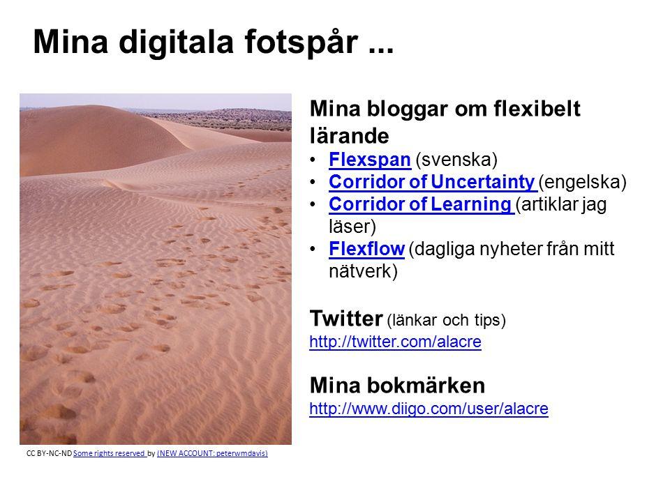 Mina digitala fotspår... Mina bloggar om flexibelt lärande Flexspan (svenska)Flexspan Corridor of Uncertainty (engelska)Corridor of Uncertainty Corrid