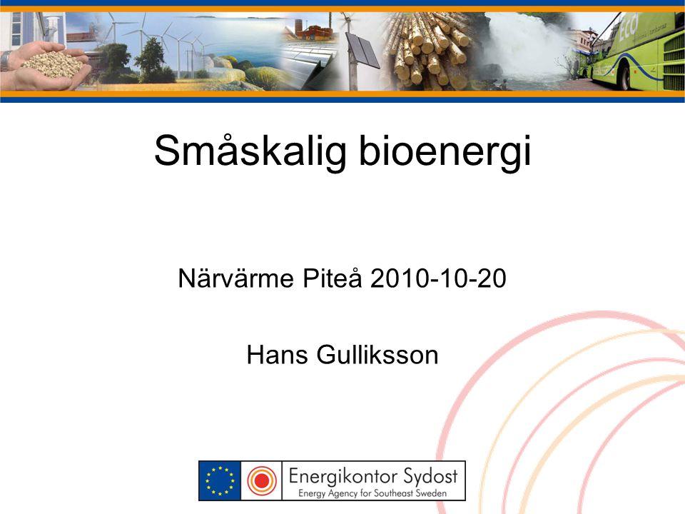 Närvärme Piteå 2010-10-20 Hans Gulliksson Småskalig bioenergi