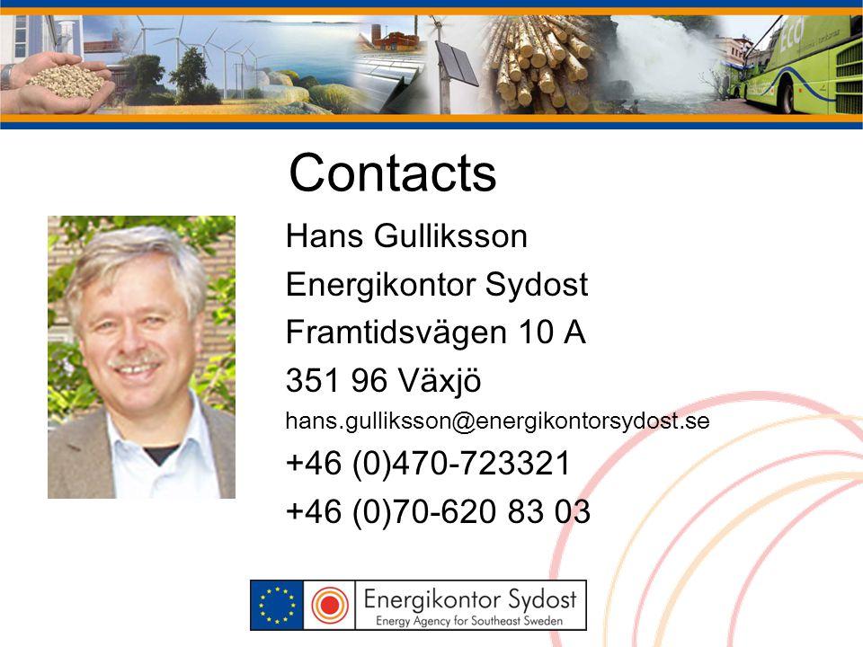 Contacts Hans Gulliksson Energikontor Sydost Framtidsvägen 10 A 351 96 Växjö hans.gulliksson@energikontorsydost.se +46 (0)470-723321 +46 (0)70-620 83