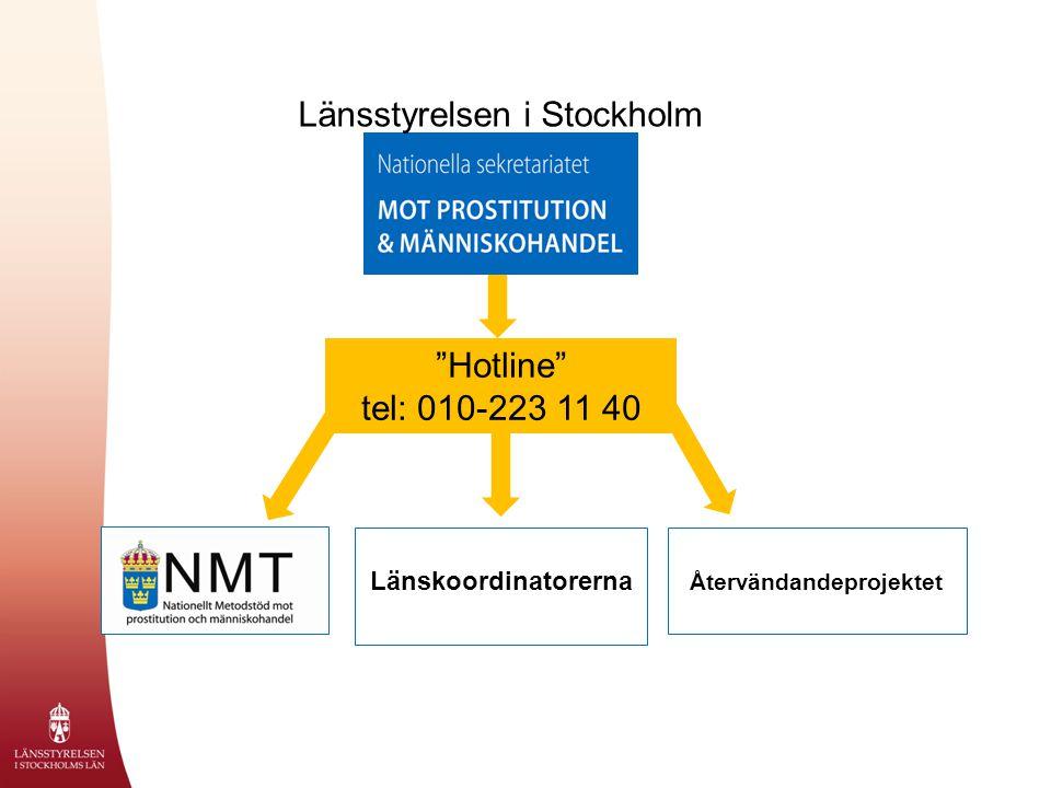 """Återvändandeprojektet Länsstyrelsen i Stockholm Länskoordinatorerna """"Hotline"""" tel: 010-223 11 40"""