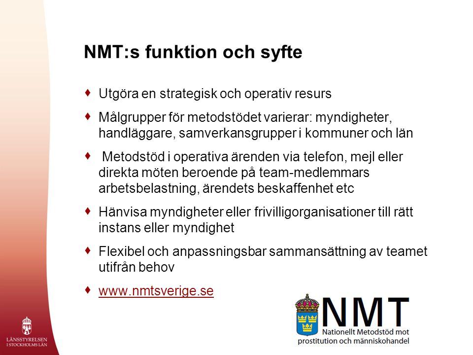 NMT:s funktion och syfte  Utgöra en strategisk och operativ resurs  Målgrupper för metodstödet varierar: myndigheter, handläggare, samverkansgrupper