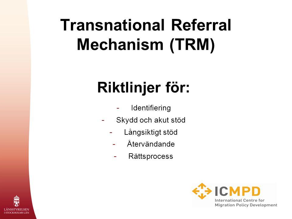 Transnational Referral Mechanism (TRM) Riktlinjer för: - Identifiering - Skydd och akut stöd - Långsiktigt stöd - Återvändande - Rättsprocess
