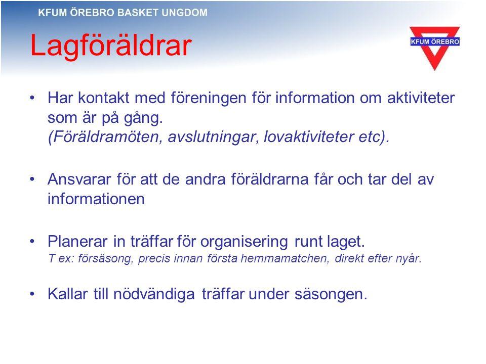 Lagföräldrar Har kontakt med föreningen för information om aktiviteter som är på gång. (Föräldramöten, avslutningar, lovaktiviteter etc). Ansvarar för