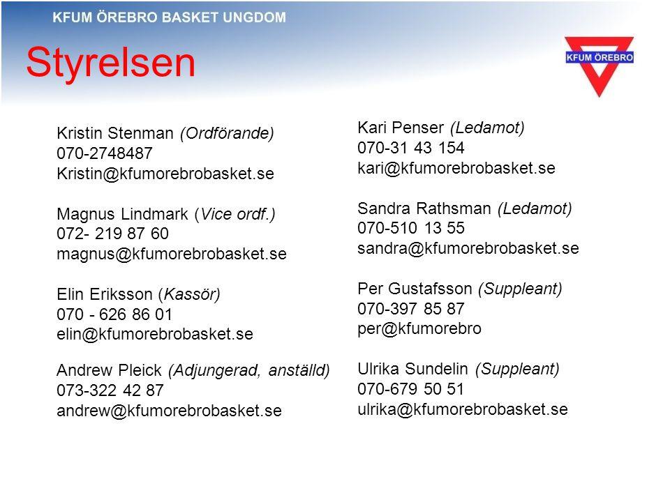 Styrelsen Kari Penser (Ledamot) 070-31 43 154 kari@kfumorebrobasket.se Sandra Rathsman (Ledamot) 070-510 13 55 sandra@kfumorebrobasket.se Per Gustafss