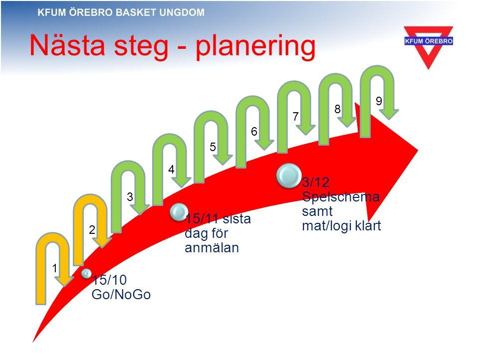 Nästa steg - planering 15/10 Go/NoGo 15/11 sista dag för anmälan 3/12 Spelschema samt mat/logi klart 1 2 4 5 3 6 7 8 9