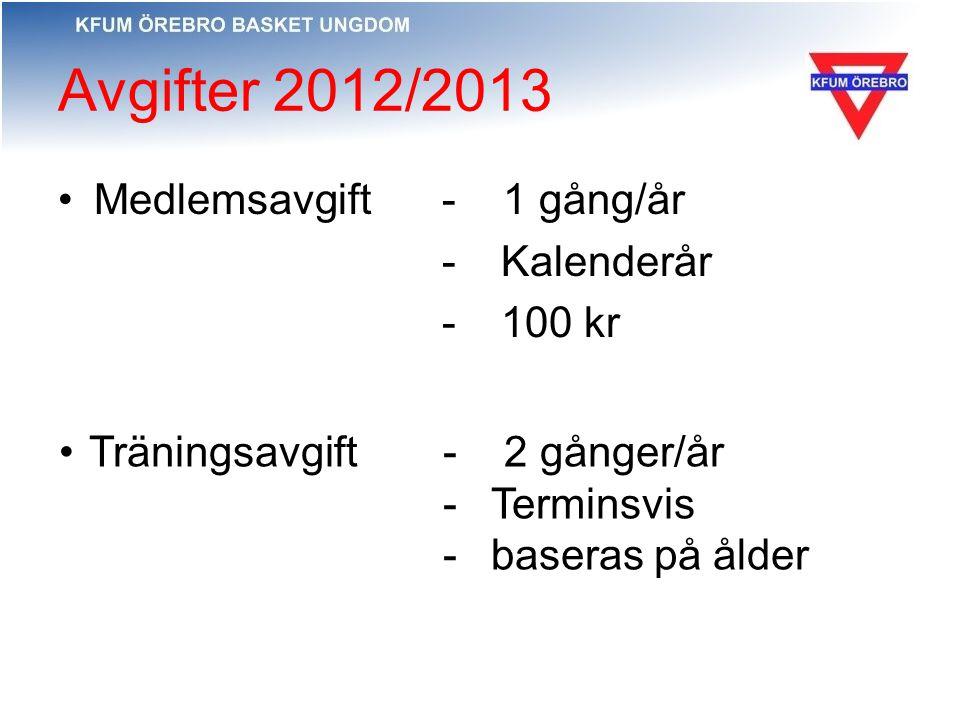 Avgifter 2012/2013 Medlemsavgift - 1 gång/år - Kalenderår - 100 kr Träningsavgift- 2 gånger/år -Terminsvis -baseras på ålder