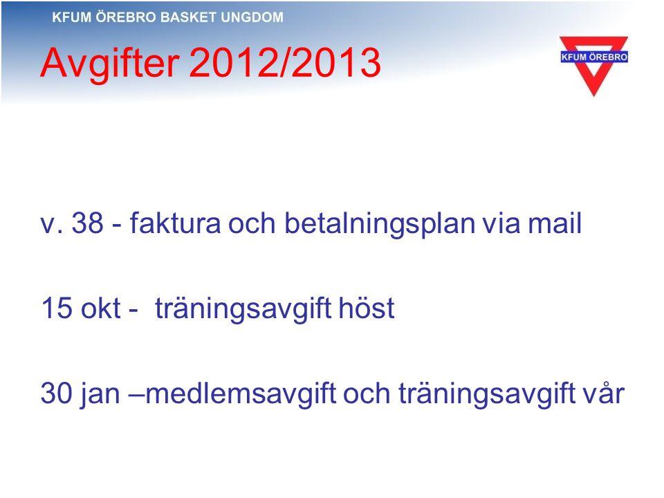 Avgifter 2012/2013 v. 38 - faktura och betalningsplan via mail 15 okt - träningsavgift höst 30 jan –medlemsavgift och träningsavgift vår