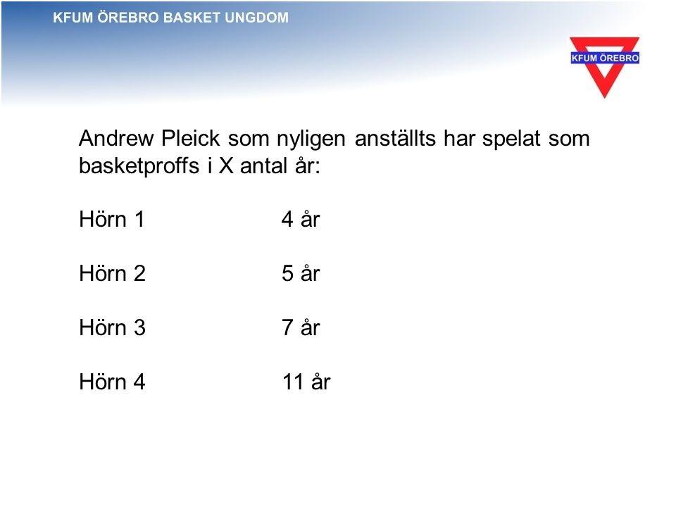 Andrew Pleick som nyligen anställts har spelat som basketproffs i X antal år: Hörn 1 4 år Hörn 25 år Hörn 37 år Hörn 4 11 år