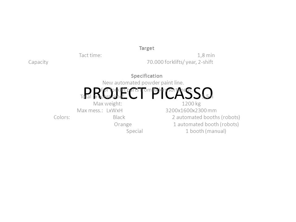 PROJECT PICASSO Target Tact time:1,8 min Capacity70.000 forklifts/ year, 2-shift Specification New automated powder paint line. For forklift parts fro