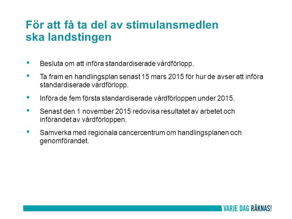 För att få ta del av stimulansmedlen ska landstingen Besluta om att införa standardiserade vårdförlopp. Ta fram en handlingsplan senast 15 mars 2015 f