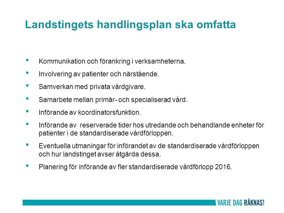 Kommunikation och förankring i verksamheterna. Involvering av patienter och närstående. Samverkan med privata vårdgivare. Samarbete mellan primär- och
