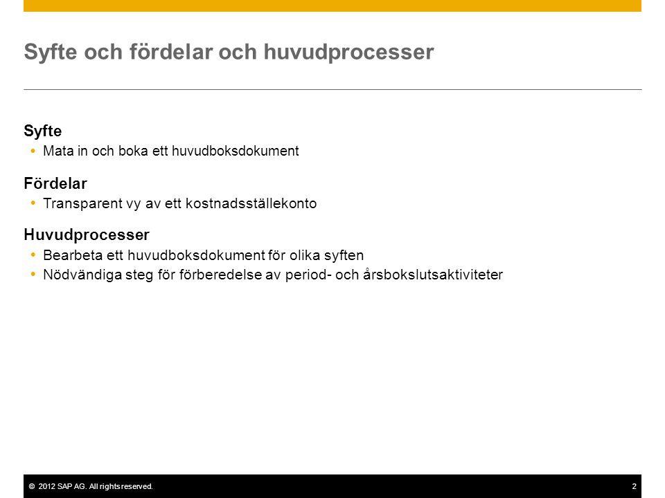 ©2012 SAP AG. All rights reserved.2 Syfte och fördelar och huvudprocesser Syfte  Mata in och boka ett huvudboksdokument Fördelar  Transparent vy av