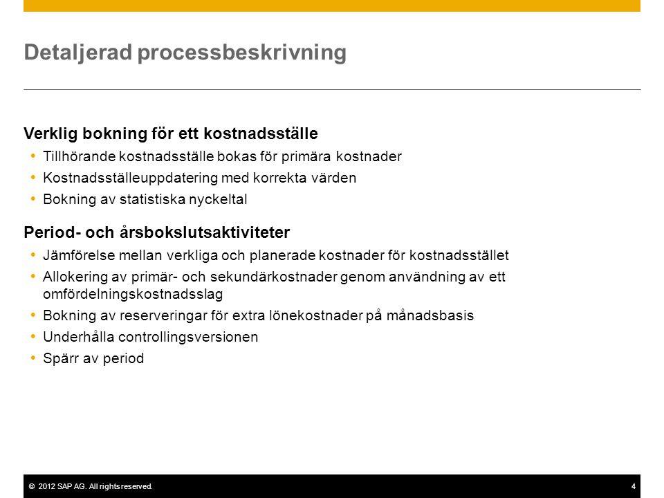 ©2012 SAP AG. All rights reserved.4 Detaljerad processbeskrivning Verklig bokning för ett kostnadsställe  Tillhörande kostnadsställe bokas för primär