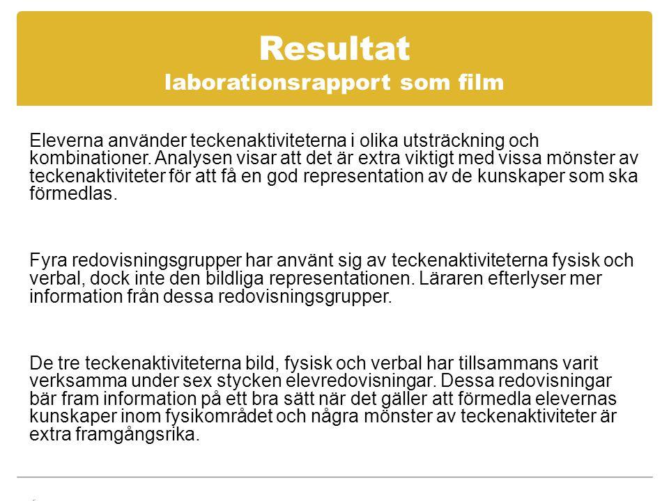 Resultat laborationsrapport som film Eleverna använder teckenaktiviteterna i olika utsträckning och kombinationer.