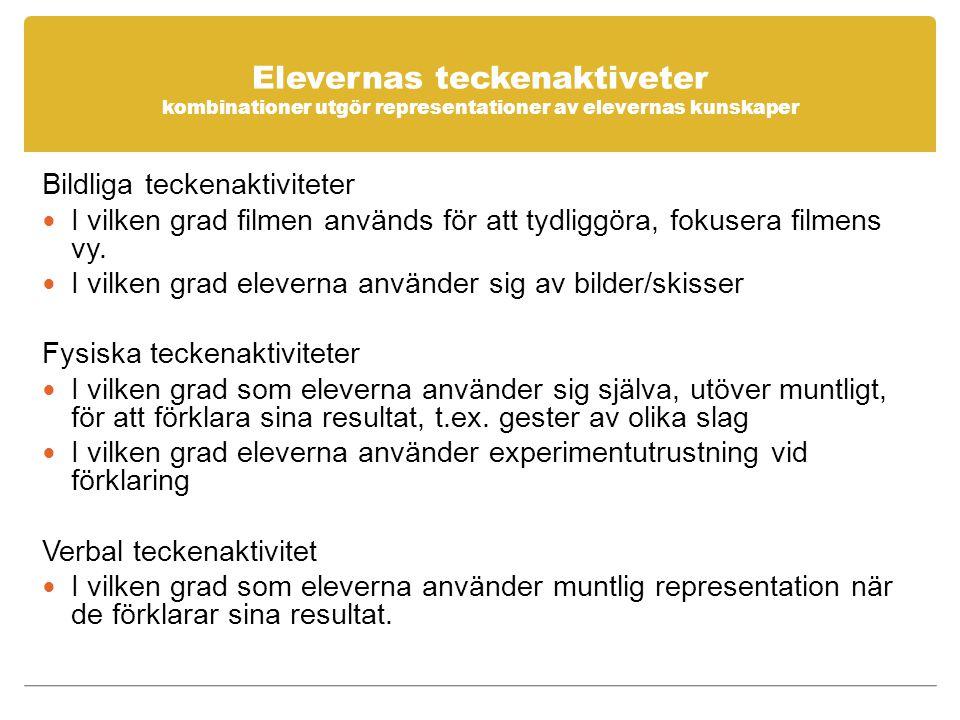 Elevernas teckenaktiveter kombinationer utgör representationer av elevernas kunskaper Bildliga teckenaktiviteter I vilken grad filmen används för att tydliggöra, fokusera filmens vy.