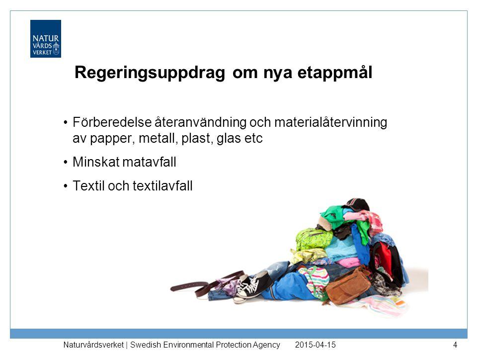 Regeringsuppdrag om nya etappmål Förberedelse återanvändning och materialåtervinning av papper, metall, plast, glas etc Minskat matavfall Textil och t