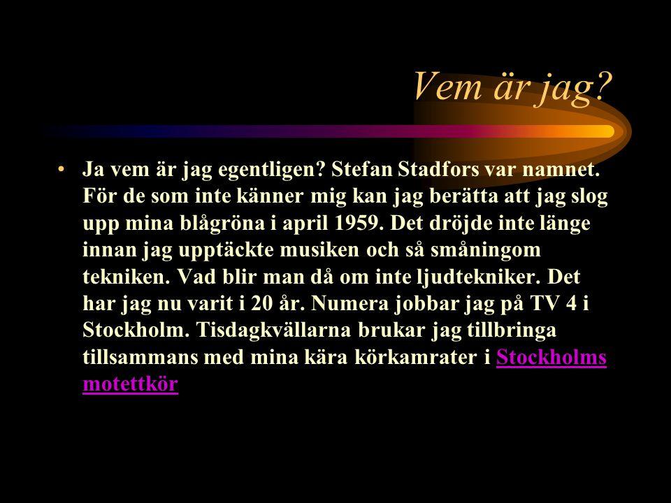 Stefan Stadfors hemsida Vem är jag? Länkar Skicka e-post
