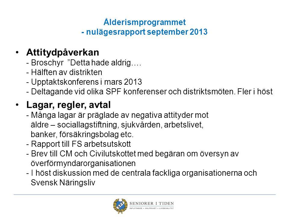 Ålderismprogrammet - nulägesrapport september 2013 Attitydpåverkan - Broschyr Detta hade aldrig….