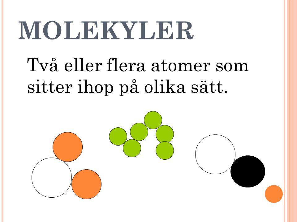 MOLEKYLER Två eller flera atomer som sitter ihop på olika sätt.