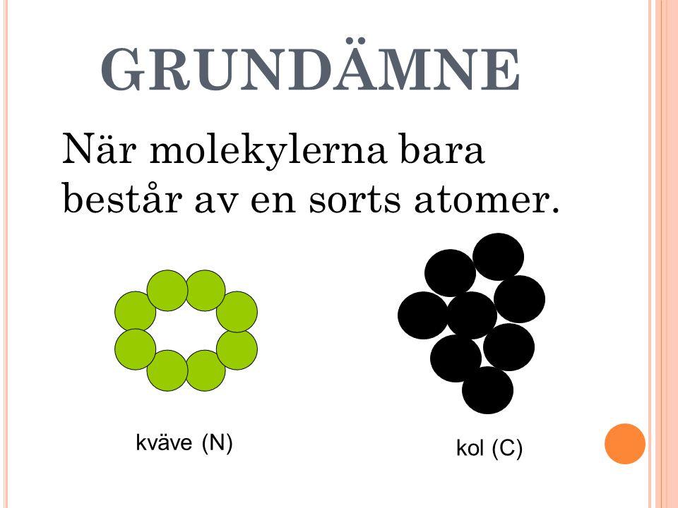 GRUNDÄMNE När molekylerna bara består av en sorts atomer. kväve (N) kol (C)