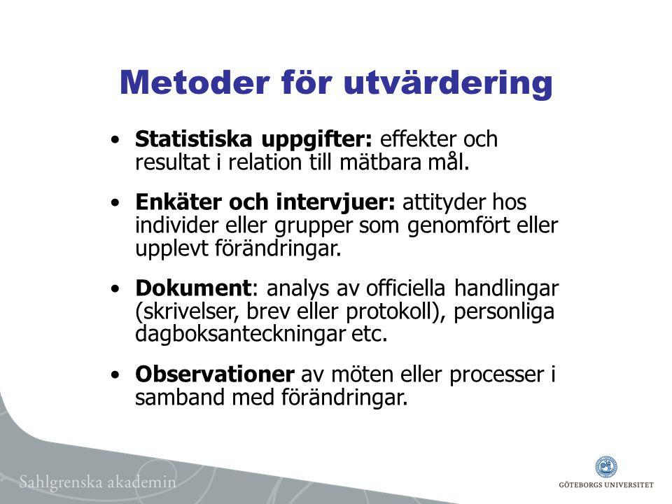 Metoder för utvärdering Statistiska uppgifter: effekter och resultat i relation till mätbara mål.