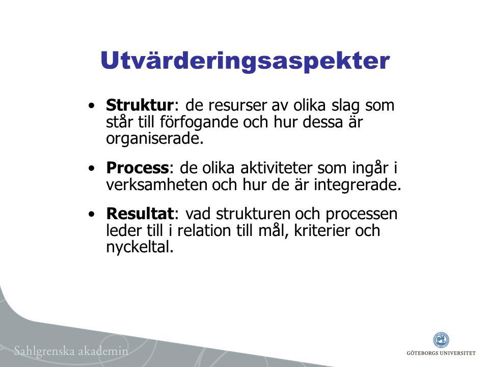 Utvärderingsaspekter Struktur: de resurser av olika slag som står till förfogande och hur dessa är organiserade.