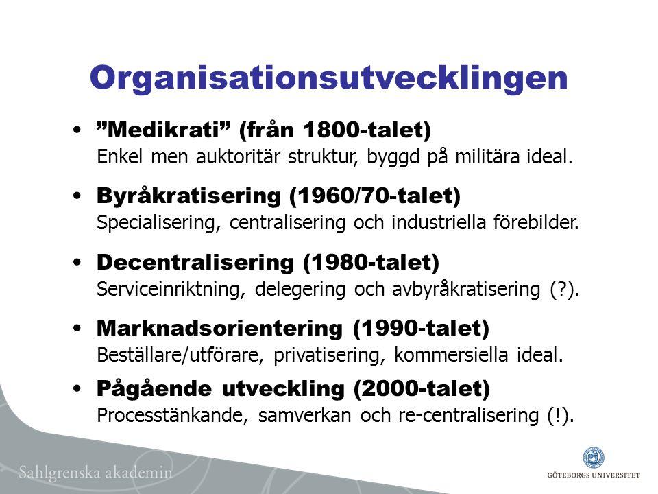 Organisationsutvecklingen Medikrati (från 1800-talet) Enkel men auktoritär struktur, byggd på militära ideal.