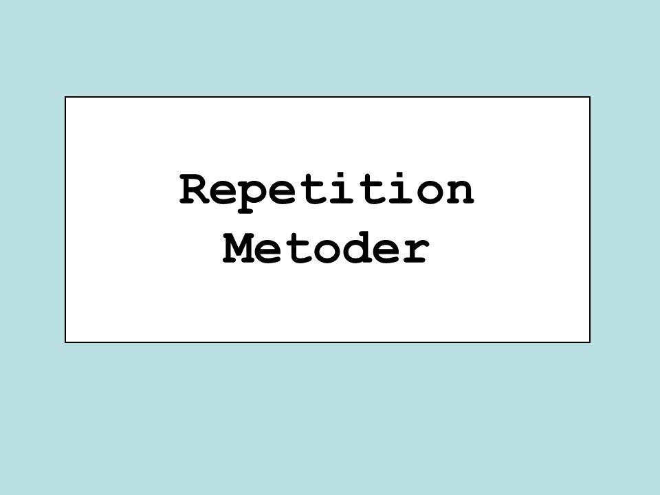 class RepetitionMetoder { public static void main(String [] args) double längd = 2.0; double bredd = 1.0; double area = beräknaArea(längd, bredd); System.out.println(area); area = beräknaArea(3.0, 2.0); System.out.println(area); System.out.println( beräknaArea(längd, 4.0) ); } public static double beräknaArea(double l, double b) { return l * b; } Instanser beräknaArea 2.0 6.0 8.0 main KlassvariablerMetodvariabler 2.0 längd 2.0 area null args 1.0 bredd RepetitionMetoder 1.0 b 2.0 l b 3.0 l 4.0 b 2.0 l beräknaArea 6.0