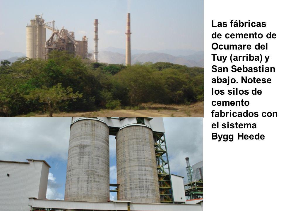Las fábricas de cemento de Ocumare del Tuy (arriba) y San Sebastian abajo. Notese los silos de cemento fabricados con el sistema Bygg Heede
