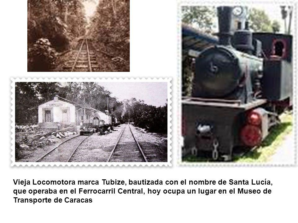 Vieja Locomotora marca Tubize, bautizada con el nombre de Santa Lucía, que operaba en el Ferrocarril Central, hoy ocupa un lugar en el Museo de Transp