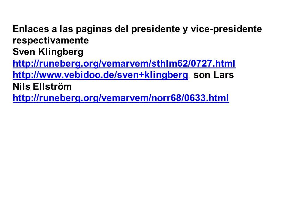 Enlaces a las paginas del presidente y vice-presidente respectivamente Sven Klingberg http://runeberg.org/vemarvem/sthlm62/0727.html http://www.vebido