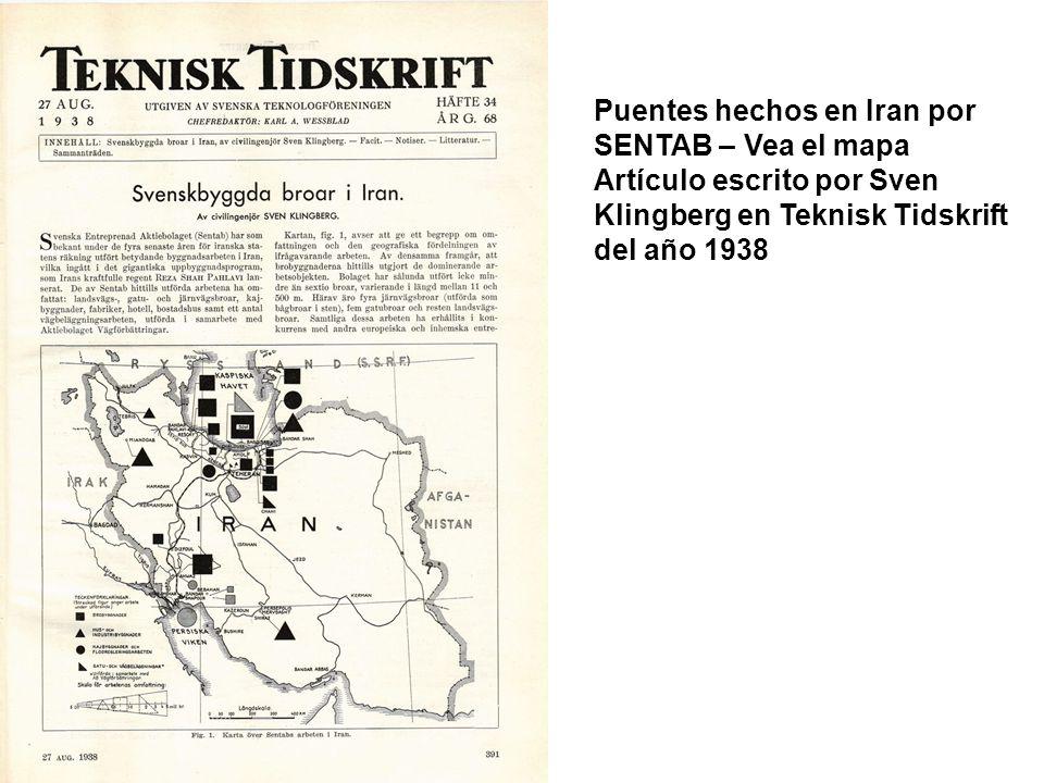 Puentes hechos en Iran por SENTAB – Vea el mapa Artículo escrito por Sven Klingberg en Teknisk Tidskrift del año 1938
