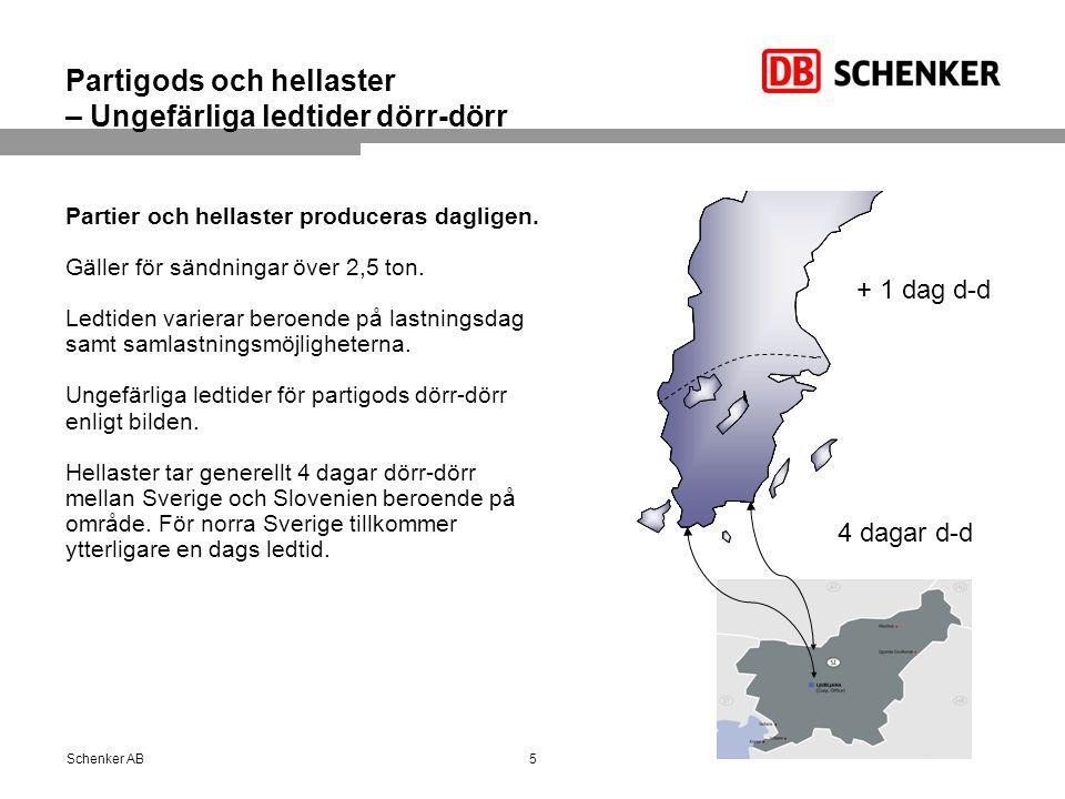 Partigods och hellaster – Ungefärliga ledtider dörr-dörr Partier och hellaster produceras dagligen.