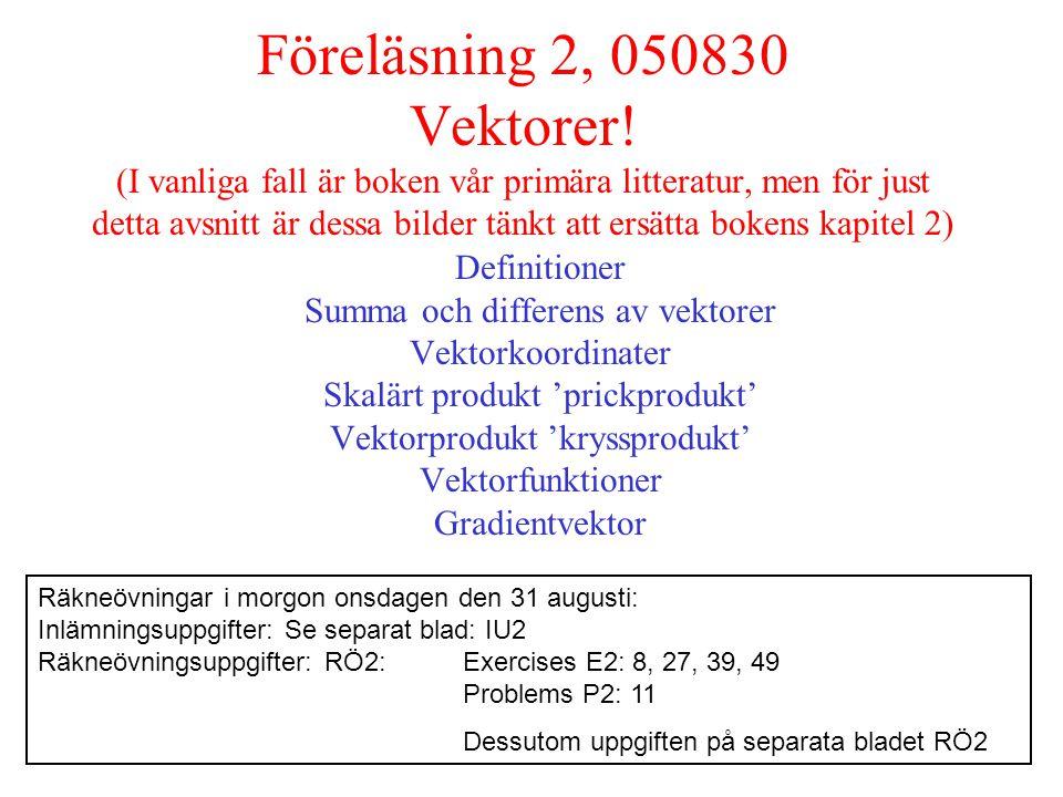 Föreläsning 2, 050830 Vektorer.