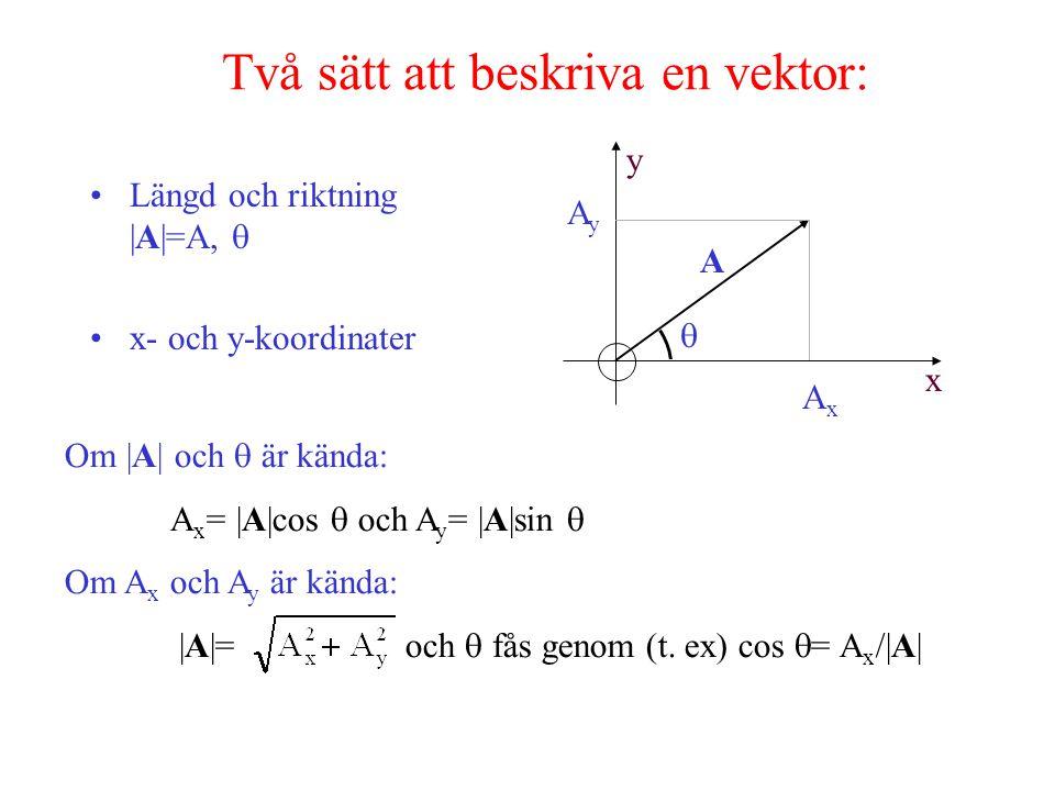 Två sätt att beskriva en vektor: Längd och riktning |A|=A,  x- och y-koordinater x y A  AxAx AyAy Om |A| och  är kända: A x = |A|cos  och A y = |A|sin  Om A x och A y är kända: |A|= och  fås genom (t.