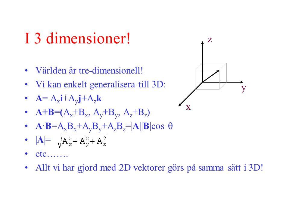 I 3 dimensioner.Världen är tre-dimensionell.
