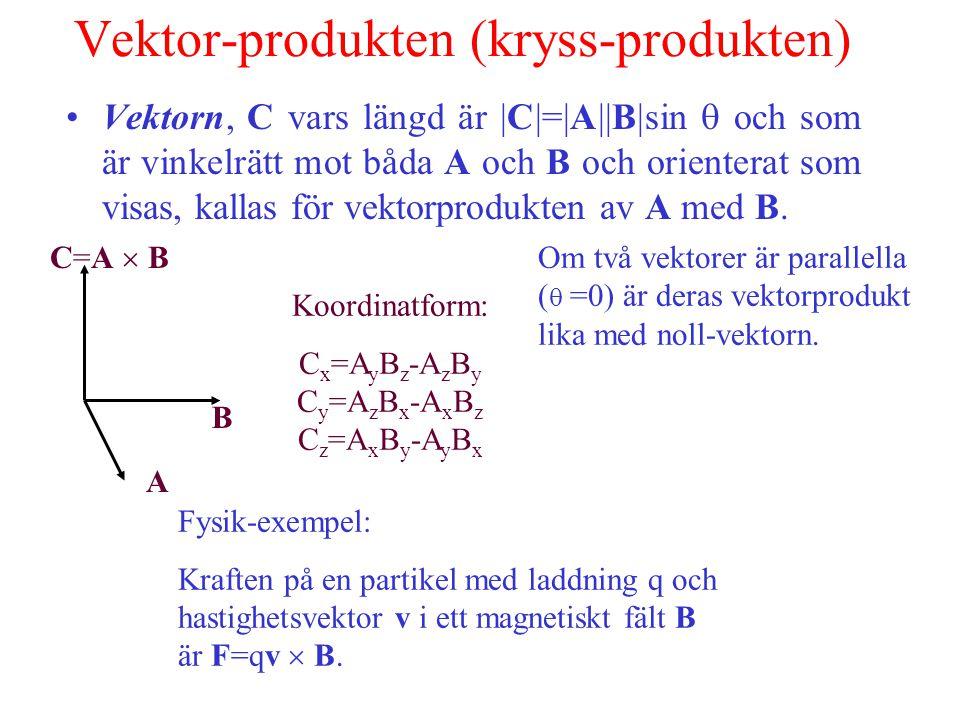 Vektor-produkten (kryss-produkten) Vektorn, C vars längd är |C|=|A||B|sin  och som är vinkelrätt mot båda A och B och orienterat som visas, kallas för vektorprodukten av A med B.
